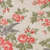 Moda Quill by 3 Sisters - 5589 - Bird Toile Floral on Pale Beige  - 44151 11 - Cotton Fabric